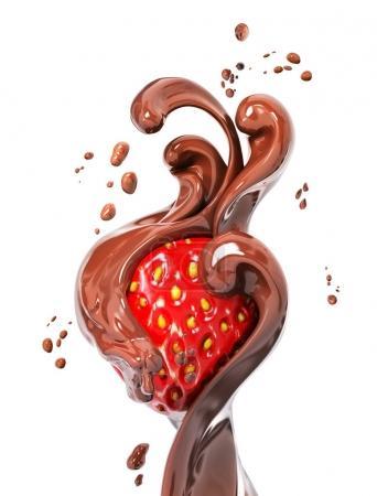 Foto de Fresa en salpicaduras de postre de chocolate, abstracta de fondo, alimento de la ilustración, aislado render 3d - Imagen libre de derechos