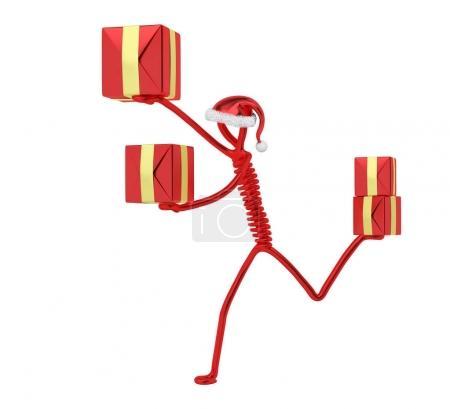 Foto de La corriente a los regalos de Navidad de entrega, aislados render 3d del carácter - Imagen libre de derechos