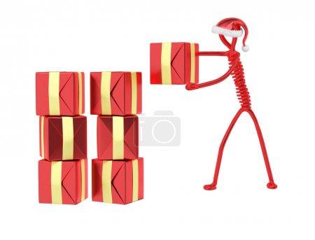 Foto de Regalos de Navidad entrega, aislados 3d representación de caracteres - Imagen libre de derechos