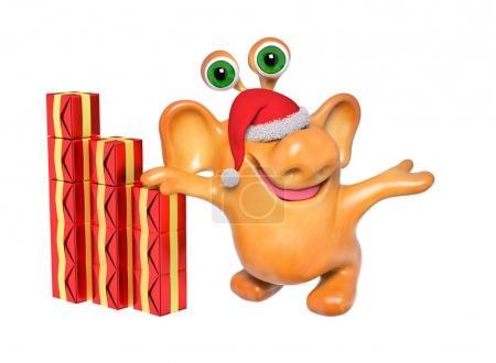 Foto de Alegre fantasía 3d dibujos animados monster en sombrero de santa con regalo de Navidad, mostrar o señalar algo con manos aisladas representación - Imagen libre de derechos