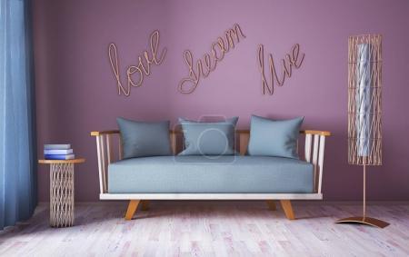 Foto de Diseño de interiores de salón moderno con renderizado 3d de sofá - Imagen libre de derechos