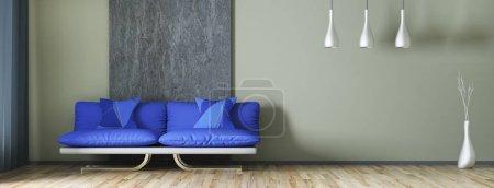 Photo pour Design intérieur moderne salon avec canapé, rendu 3d panorama - image libre de droit