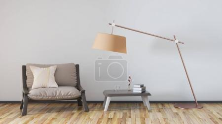 Foto de Sala de estar con sillón, mesa de centro y lámpara, render 3d - Imagen libre de derechos