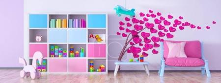Foto de Interior de habitación de los niños con sillón y librería de renderizado 3d - Imagen libre de derechos