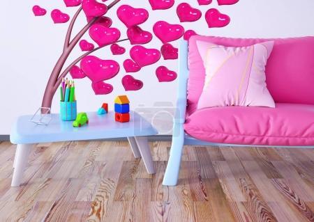 Foto de Interior de habitación de los niños con sillón render 3d - Imagen libre de derechos