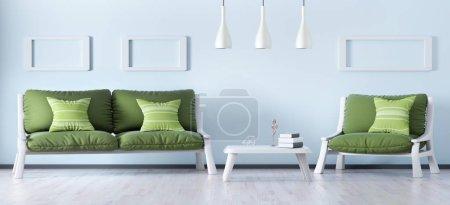 Foto de Diseño interior de moderna sala de estar con sofá y sillón, panorama 3d renderizado - Imagen libre de derechos