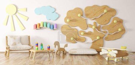 Foto de Interior de habitación de los niños con render 3d y butaca y patio - Imagen libre de derechos