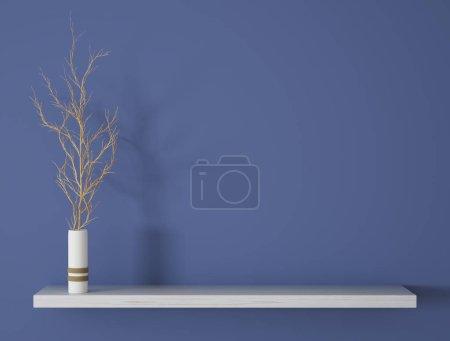 Foto de Rama en florero blanco en la superficie de madera sobre la pared azul render 3d de fondo - Imagen libre de derechos