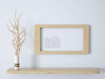 Foto de Rama en florero blanco sobre el estante de madera con fondo de marco render 3d - Imagen libre de derechos