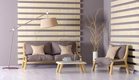 Foto de Diseño interior de moderna sala de estar con sofá, Sillón, mesa de centro y lámpara de pie, render 3d - Imagen libre de derechos
