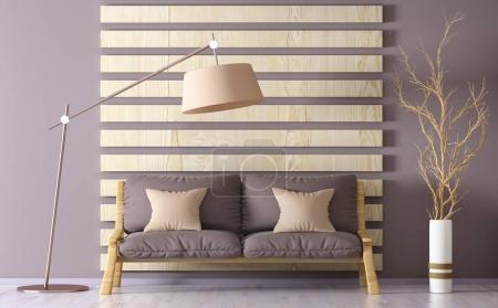 Foto de Diseño interior de moderna sala de estar con sofá, lámpara de pie, render 3d - Imagen libre de derechos