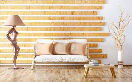 Foto de Diseño interior de moderna sala de estar con sofá, mesa y lámpara de pie, render 3d - Imagen libre de derechos