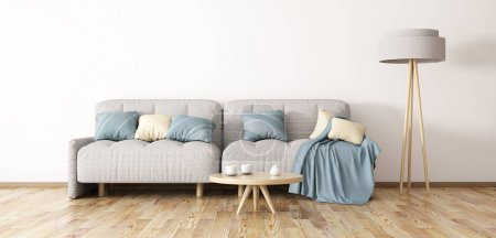 Photo for Interior design of modern living room with sofa, coffee table and floor lamp, 3d rendering - Royalty Free Image