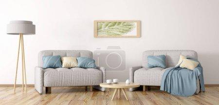 Foto de Sala de estar con dos sillones, mesa de centro y lámpara, render 3d - Imagen libre de derechos