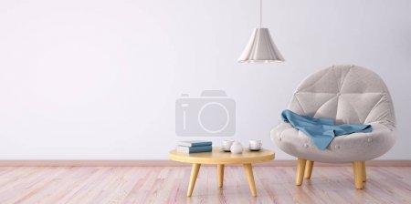 Foto de Interior de la sala de estar con sillón, mesa de centro y lámpara, render 3d - Imagen libre de derechos