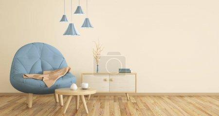Foto de Interior de la sala de estar con sillón, mesa y armario, render 3d - Imagen libre de derechos