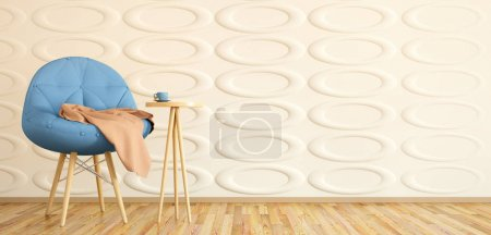 Foto de Interior de la sala de estar con sillón, mesa de centro de render 3d - Imagen libre de derechos