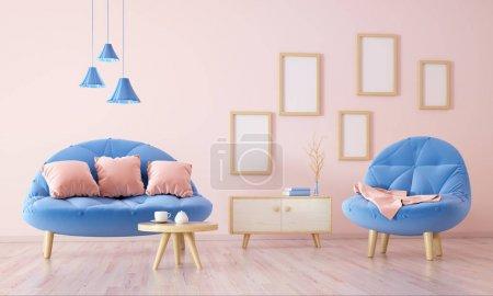 Foto de Diseño interior de moderna sala de estar con sofá, mesa y armario, render 3d - Imagen libre de derechos