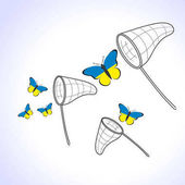 Butterflies with the flag of Ukraine and landing net