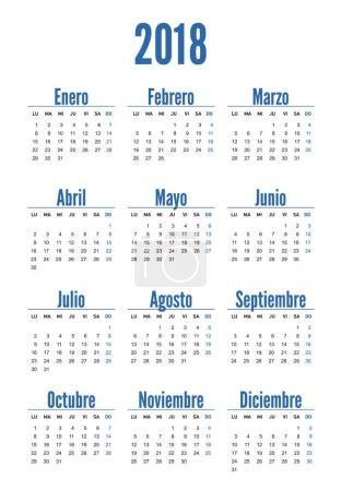 Spanish vertical calendar on 2018 year
