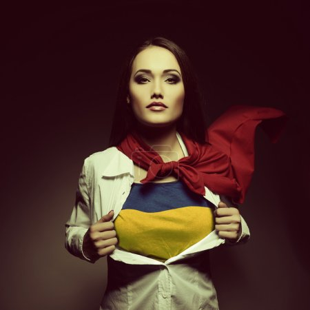 Superwoman with Ukrainian flag