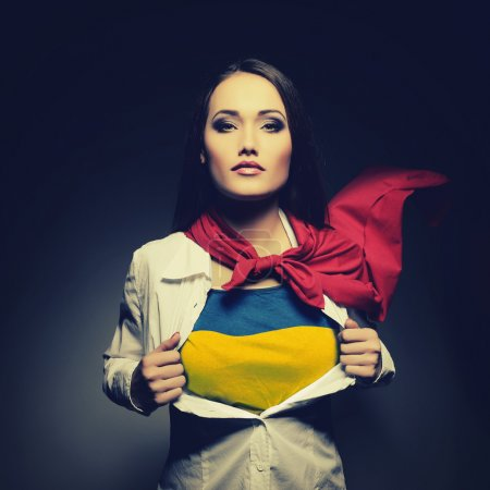 Superwoman with Ukrainian flag