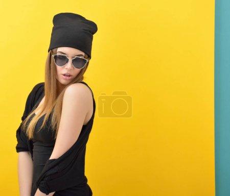 woman in black warm hat
