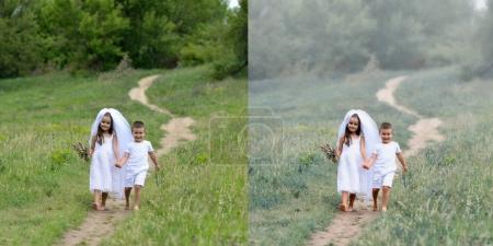 Photo pour Jeune mariée et marié jouant mariage été en plein air. Retouchez-vous avant et après. Pouvoir de retouche . - image libre de droit