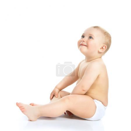 Photo pour Adorable gosse, portrait complet. Portrait de belle petite fille isolée sur fond blanc. Enfant mignon, plan studio . - image libre de droit
