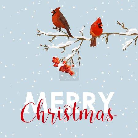 Merry Christmas Card - Winter Birds with Rowan Berries Banner - in vector