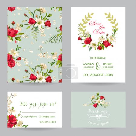 Illustration for Save the Date Wedding Invitation or Congratulation Card Set. Rose and Lily Floral Theme in Vector - Royalty Free Image