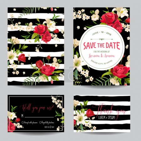 Save the Date Wedding Invitation or Congratulation Card Set. Rose and Lily Floral Theme in Vector