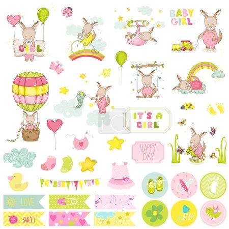 Baby Girl Kangaroo Scrapbook Set. Vector Scrapbooking, Decorative Elements, Tags, Labels, Stickers, Notes