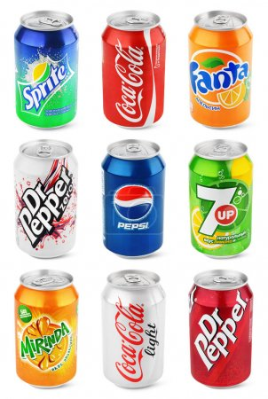 Photo for RUSSIA, MOSCOW - JULY 2, 2017: Set of different aluminum soda cans isolated on white background Collection of various brands of soda drinks in aluminum cans with clipping path - Royalty Free Image