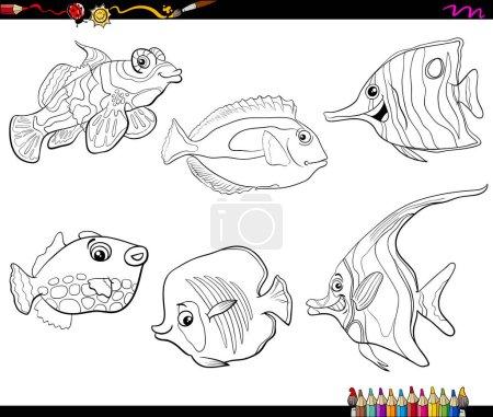 Illustration pour Dessin animé noir et blanc Illustration de poissons tropicaux Vie marine Personnages d'animaux Coloriage - image libre de droit