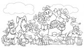 cartoon dog and cats pet group color book