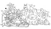 cartoon dog and cats group coloring book