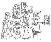 cartoon people doing selfie photos