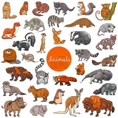 Photo pour Illustration de dessins animés de mammifères sauvages personnages animaux Big Set - image libre de droit
