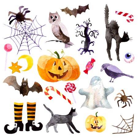 Photo pour Aquarelle citrouille jour Halloween ensemble - image libre de droit