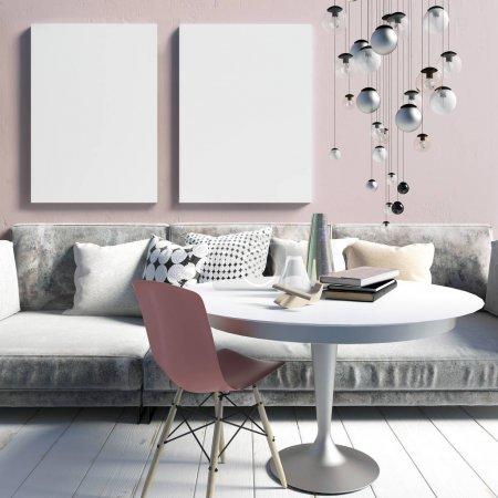 Photo pour Cozy salon intérieur moderne dans un rose sale. Un espace détente. Une maquette d'affiche. Illustration 3d - image libre de droit