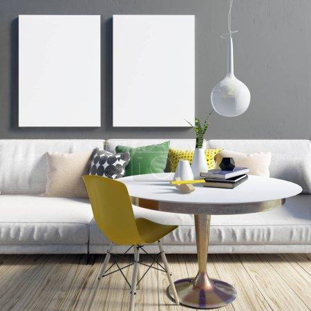 Photo pour Cozy intérieur moderne du salon dans des couleurs contrastées. Espace détente. Une maquette d'affiche. Illustration 3d - image libre de droit