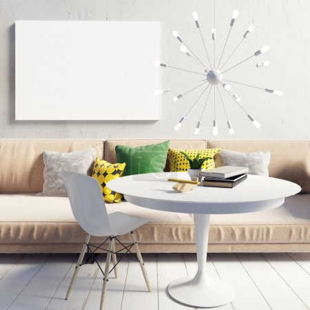 Photo pour Cozy lumineux et moderne salon intérieur. Espace détente. Une maquette d'affiche. Illustration 3d - image libre de droit