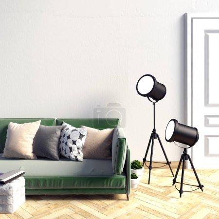 Foto de Simular la pared en el interior con sofá. sala de estar. lugar de descanso. estilo moderno. ilustración 3d - Imagen libre de derechos