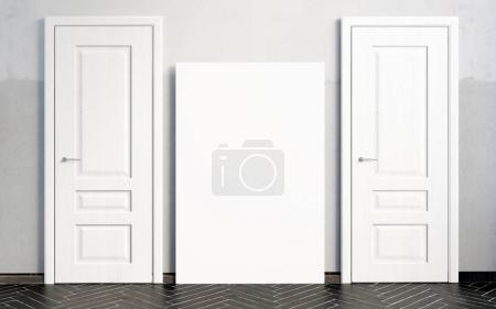Photo pour Intérieurs avec portes blanches. Illustration 3D. affiche maquette - image libre de droit