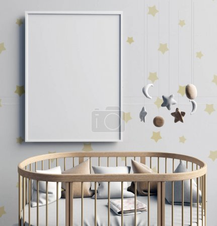 Mock up poster in interior of the child. sleeping place. modern
