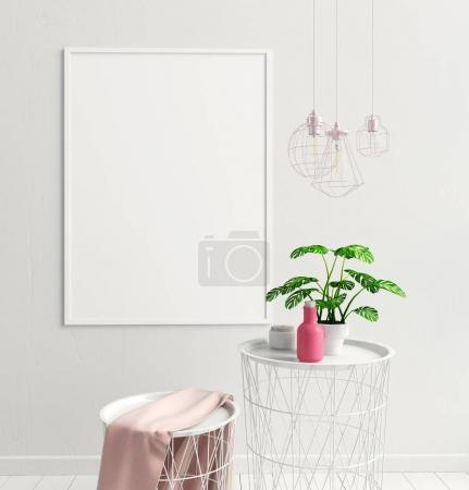Photo for Modern interior of Scandinavian style. 3D illustration. poster mock up - Royalty Free Image