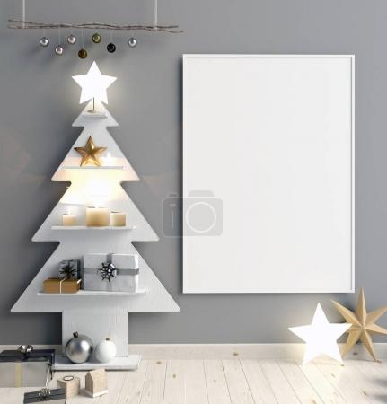 Photo for Modern minimalistic Christmas interior, Scandinavian style. 3D illustration. poster mock up - Royalty Free Image