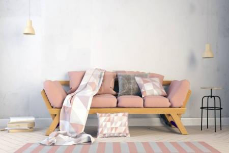 Photo for Modern interior with sofa. Wall mock up. 3d illustration. - Royalty Free Image