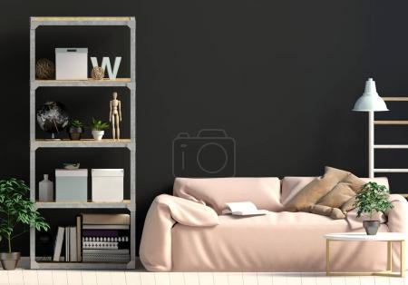 Photo pour Style scandinave intérieur moderne contrasté, composé d'une étagère avec plantes et décor, canapé et mur sombre. Mur maquillé. Illustration 3d - image libre de droit